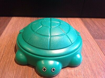 """Vintage Little Tikes Dollhouse Size 6"""" Green Turtle Sandbox with Lid Made in USA"""