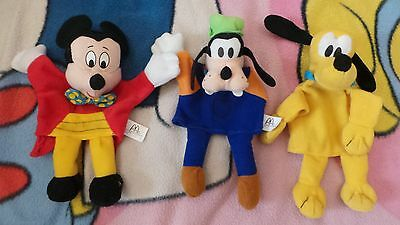 Disney Goofy, Pluto & Mickey Mouse Hand Puppet Soft Toys x3 Mc Donalds