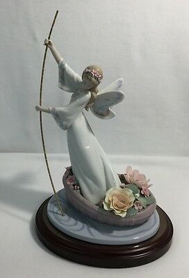Lladro #7679 The Enchanted Lake 4000 Made Fairy Boat Angel Flowers Rare !!