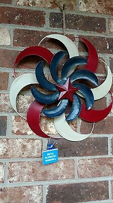Windmill Hanging Patriotic Red White Blue Outdoor Decor 3 Layer Metal Swirls New