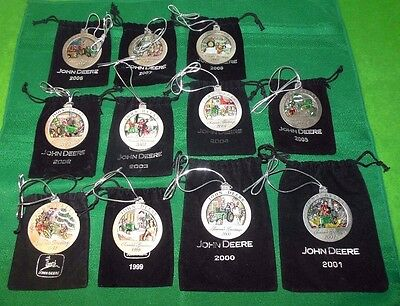 Lot of 11 John Deere Pewter Annual Christmas Tree Ornaments 1998-2008