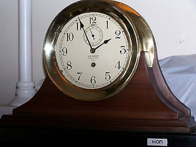Waltham Us Navy Ship Clock With Two 6 Inch Dials And Wood Chelsea Type Stand
