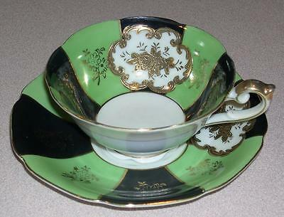 Hand Painted China Cup and Saucer - Blue, Green and Gold Pattern