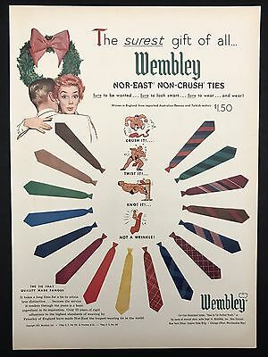 1952 Vintage Print Ad 1950s WEMBLEY TIES Men's Fashion Style