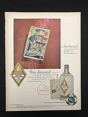 1952 Vintage Print Ad 1950s GILBEY'S GIN Playing Cards Jack Of Diamonds