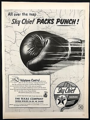 1952 Vintage Print Ad 1950s TEXACO Sky Chief Boxing Glove Packing Punch