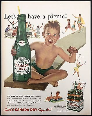 1952 Vintage Print Ad 1950s CANADA DRY GINGER ALE Summertime Swimming