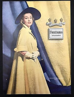 1952 Vintage Print Ad 1950s FORSTMANN WOOL Woman's Fashion Style Clothes