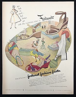 1952 Vintage Print Ad 1950s FORTUNET Fiesta Woman's Shoe Foot Fashion