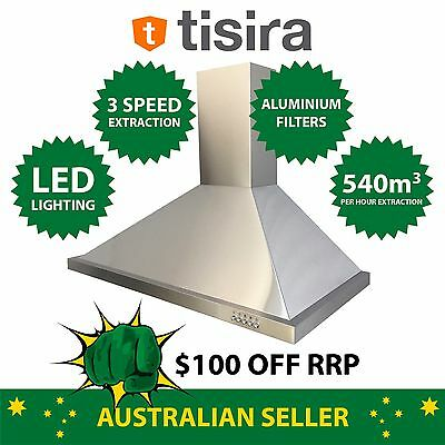 Tisira 90cm Stainless Steel Canopy Kitchen Rangehood (TRH9-1-L) 900mm LED