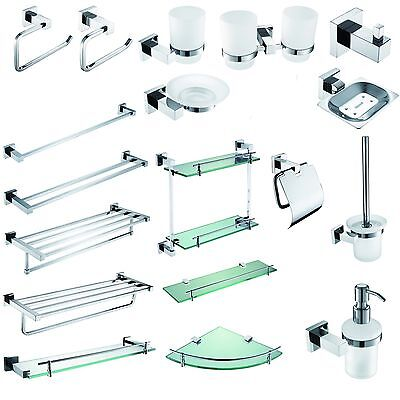Modern Square Bathroom Accessories Set Solid Brass Chrome Finish Wall Mounted