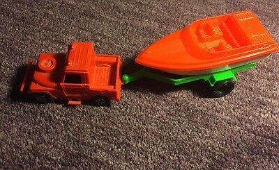VINTAGE STROMBECKER PLASTIC HITCH-UP BOAT Plastic TRAILER & Jeep