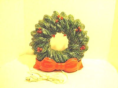Vintage Ceramic Xmas Wreath With Stand - W/ 2 Lights - 1970's