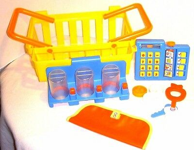 Vintage Fisher Price Fun With Food Grocery Shopping Basket With Rare Acc - 1984