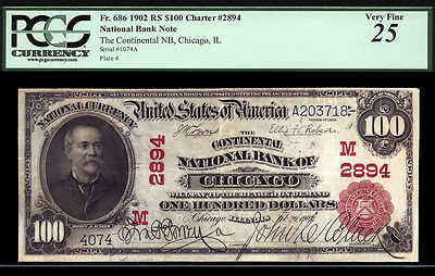 $100 1902 Red Seal Continental National Bank of Chicago, Illinois CH 2894 RARE