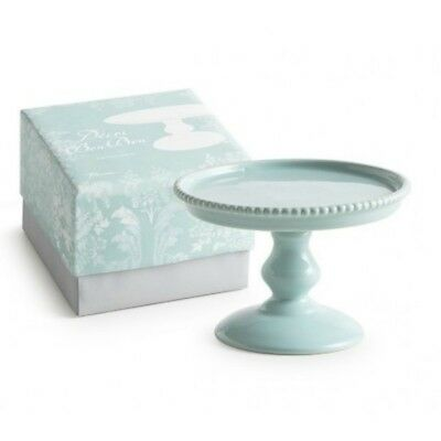 Rosanna Small Beaded Turquoise Porcelain Pedestal Cake Stand