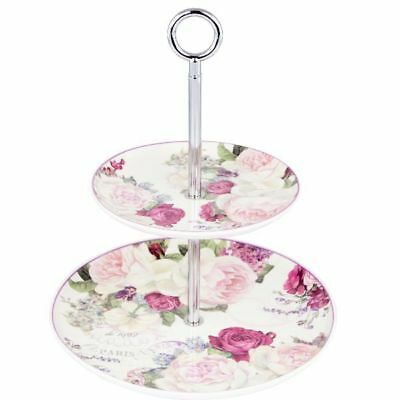 Vintage Roses 2 Tiered Cake Stand by Ashdene. Bone china. Gift Boxed