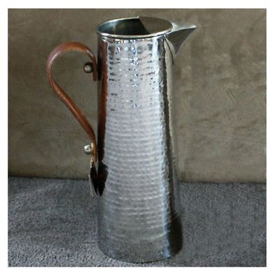 Hammered Water Jug with Leather Handle
