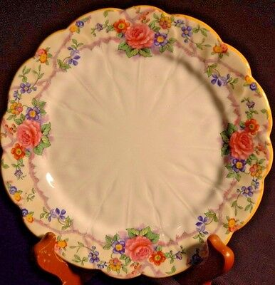 Aynsley Scconed Floral Banded Plate - 1930