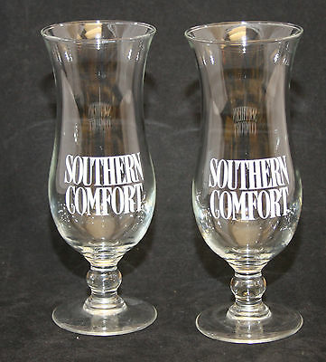 Set of 2 Southern Comfort Hurricane Style Barware Glasses 8 inch Tall Stemmed