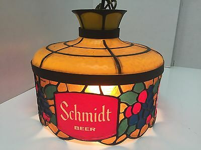 Vintage Schmidt Beer Lamp Light Hanging Tiffany Style Sign Schmidts Schmidt's