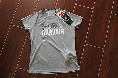 NEW Under Armour Boys Shirt Gray Size YSM Youth Small Heatgear Loose S/S Summer