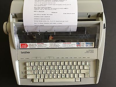 Brother GX7750 Electronic Typewriter Daisy Wheel Correctronic Portable w/ Cover