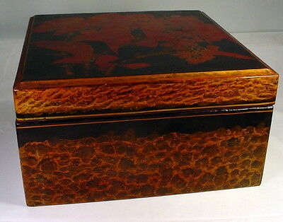 VINTAGE Black Lacquered Wood Asian Inspired Box With Lid 12""