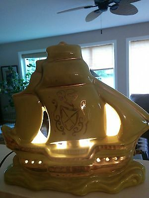 Vintage Tv Lamp-Ceramic Green Sail Boat