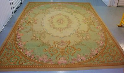 Antique Vintage French AUBUSSON Rug 8x10 Pink ROSES Aqua Gold Taupe Chic Shabby