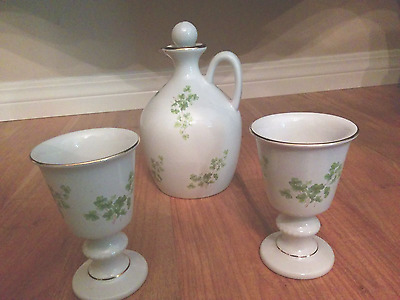 Unique Wade Vintage Irish Porcelain Shamrock Design Decanter and Goblets