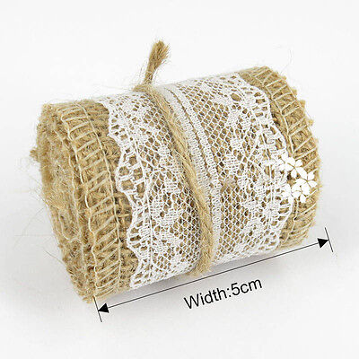 1Y 5cm Jute Burlap Hessian Ribbon Lace Trims Tape Party Table Supplies Decor S