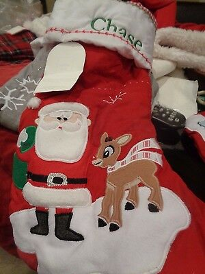 """Pottery Barn Kids quilted Rudolph santa Stocking Christmas monogram """"Chase"""""""