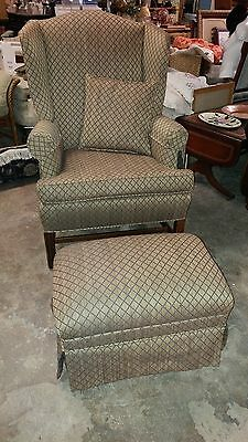 Wingback Chair with Ottoman - ELEGANT - Beautiful NEW Fabric