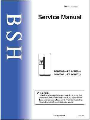 Repair Manual: Bosch/Siemens/Gaggenau REFRIGERATORS (choice of 1 manual)