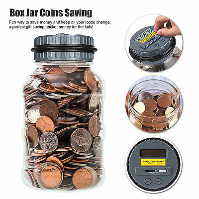Digital Coin Saving Money Box Jar Automatic Clear Electronic Count Piggy Qute HH