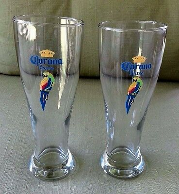 Corona Extra PARROT Pilsner Beer Glass Tall 16 oz. Pint Excellent Condition! (2)