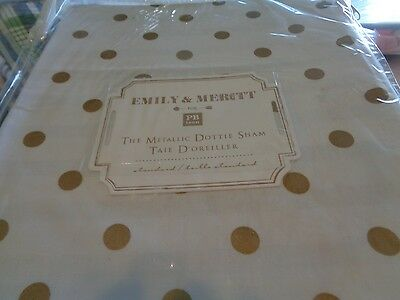 Pottery Barn Teen The Emily & Meritt Metallic dottie gold standard sham New