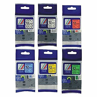 6PK TZe231 131 431 531 631 731 Color Label Tape Compatible for Brother and 1/2