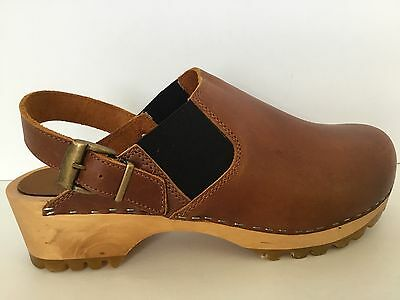 Chilis Wood Sole Clogs 10 EU40 Denmark Med Brown Leather Traction Bottom Vintage