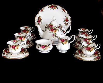 Royal Albert Old Country Roses 22 Pce Tea Set*6 Trios Tpot Milk Sugar Cake Plate