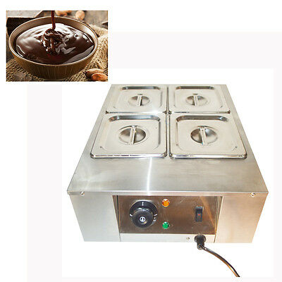 4 Pans Chocolate Melter Well Bain Marie Water Heating