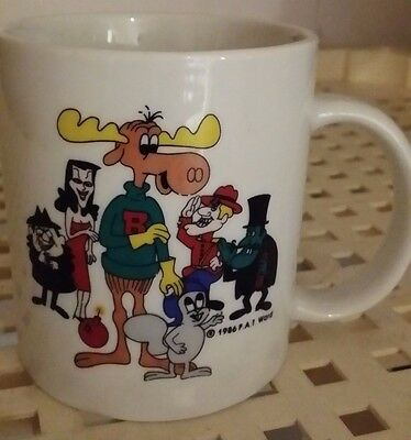 Rocky And Bull Winkle Vintage 1986 Coffee Cup
