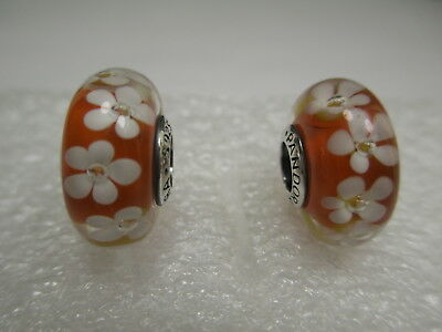 2 New Pandora Silver 925 Ale Tropical Orange Field of Flowers Glass Beads Charms
