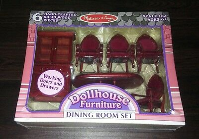 Melissa & Doug - Classic Wooden Dollhouse Dining Room Furniture - 2586
