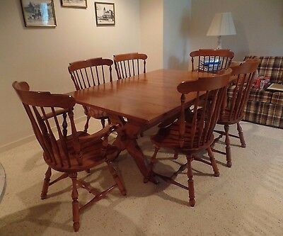 Heywood-Wakefield Maple Dining Set: Table + 6 Chairs, Cinnamon (color)