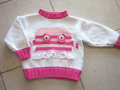 Hand Knitted Girl's Jumper  Size 00  Euc