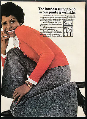 1973 Vintage Print Ad 1970s SEARS PANTS Woman's Fashion Style Red Sweater