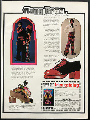 1973 Vintage Print Ad 1970s FLAGG BROS Men's Fashion Style Foot Fashion Shoes
