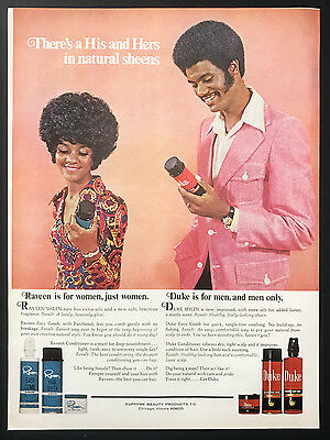 1973 Vintage Print Ad 1970s RAVEEN for Women DUKE for Men Hair Sheen Grooming